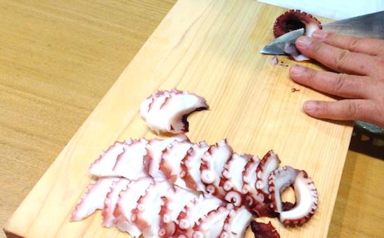 蛸の薄切り カルパッチョ 酢の物 にぎり寿司 むそう塾 中川善博