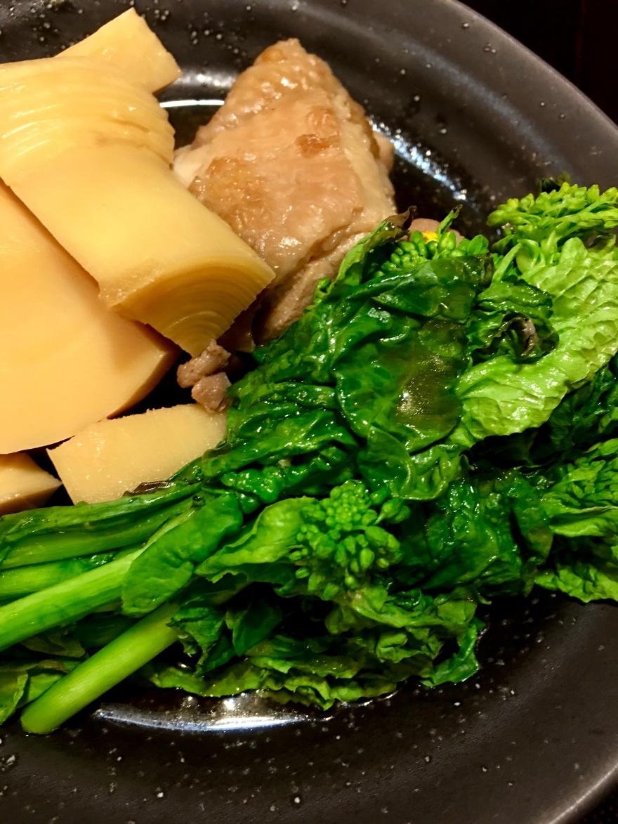京筍と地鶏の焚合焼菜花添え マクロビオティック京料理教室 むそう塾