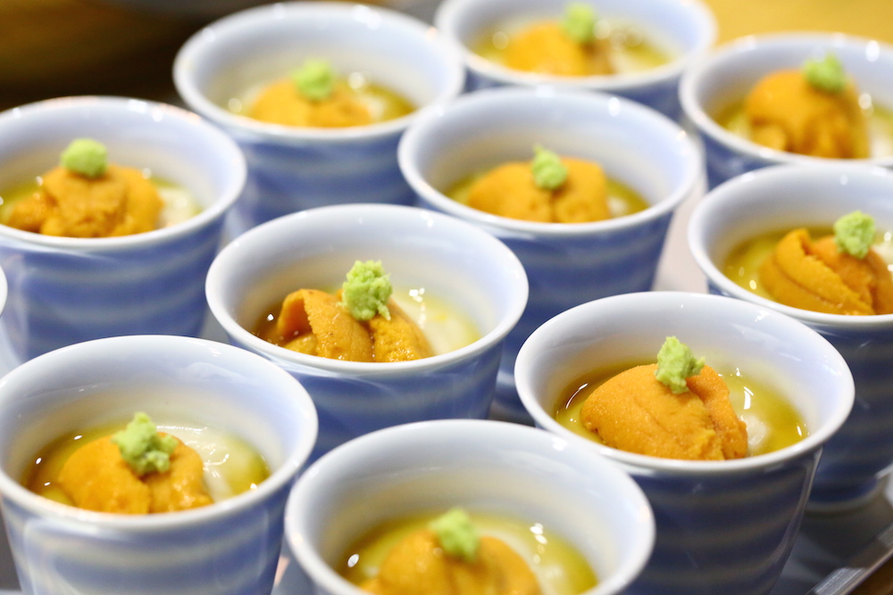 胡麻豆腐の生雲丹載せ マクロビオティック料理教室 むそう塾 中川善博
