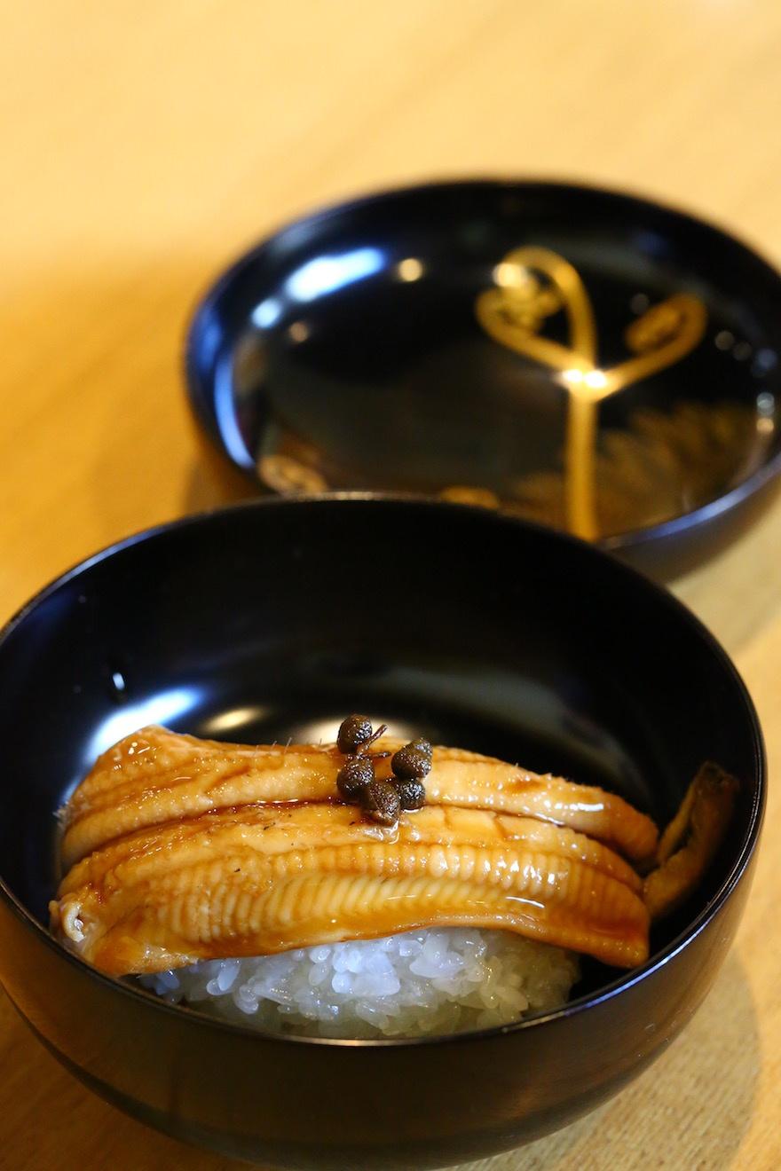 マクロビオティック京料理教室 むそう塾 穴子の飯蒸し 実山椒佃煮載せ